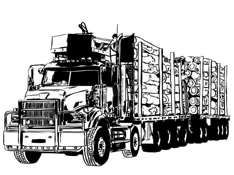 De vrachtwagenvector van de logboekdrager, Eps, Embleem, Pictogram, Silhouetillustratie door crafteroks voor verschillend gebruik royalty-vrije illustratie