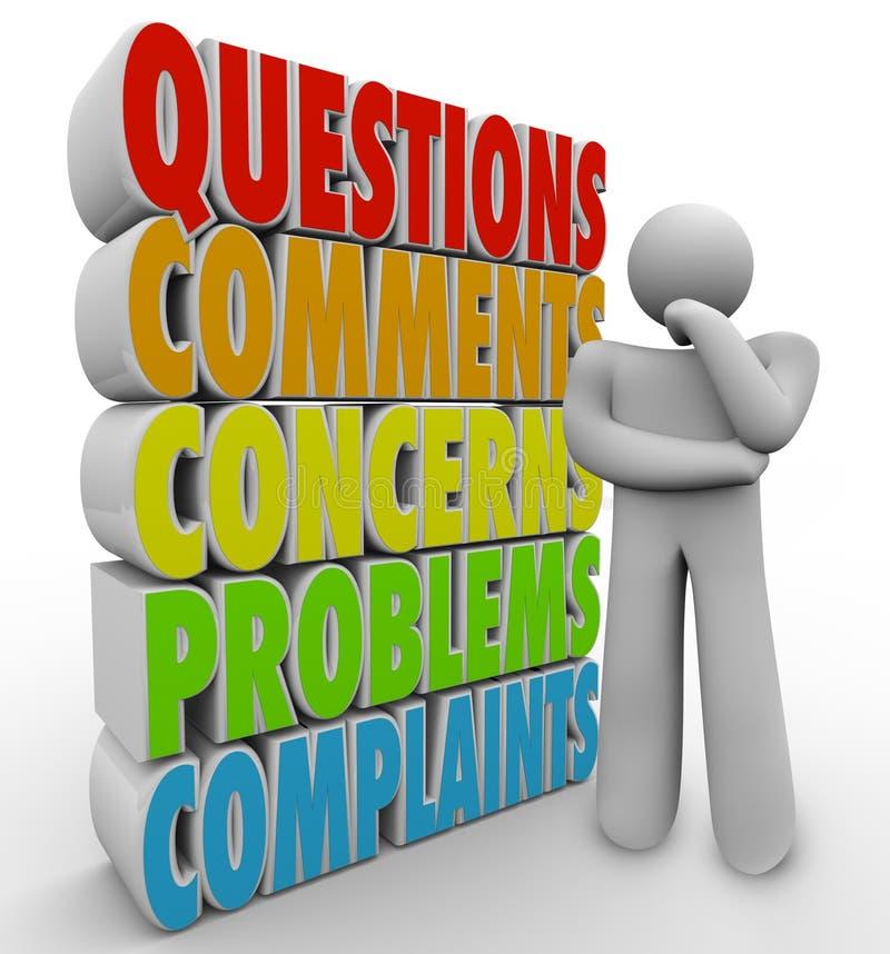 De vragencommentaren betreft Denkend Person Words royalty-vrije illustratie