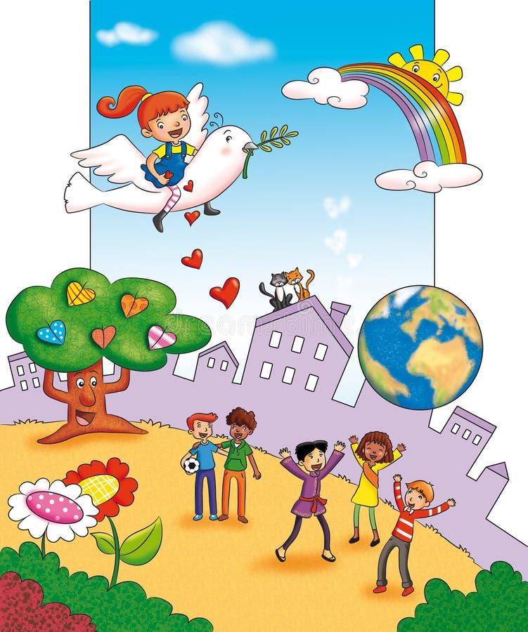 De vrede in de wereld royalty-vrije illustratie