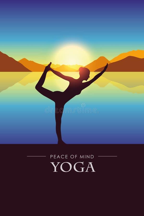 De vrede van meningsvrouw maakt yogasilhouet door het meer met het landschap van de de herfstberg bij zonsondergang vector illustratie