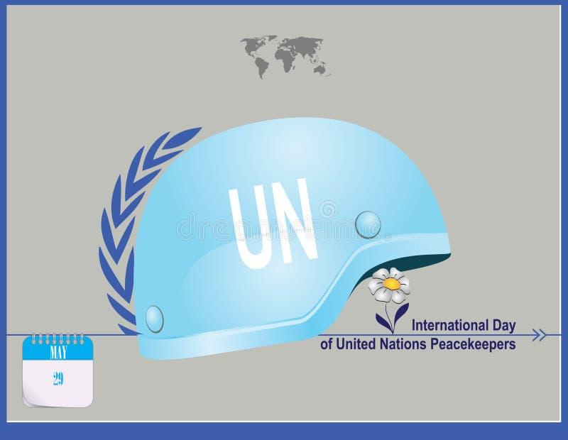 De Vredeskorpsen van de prentbriefkaarverenigde naties royalty-vrije illustratie