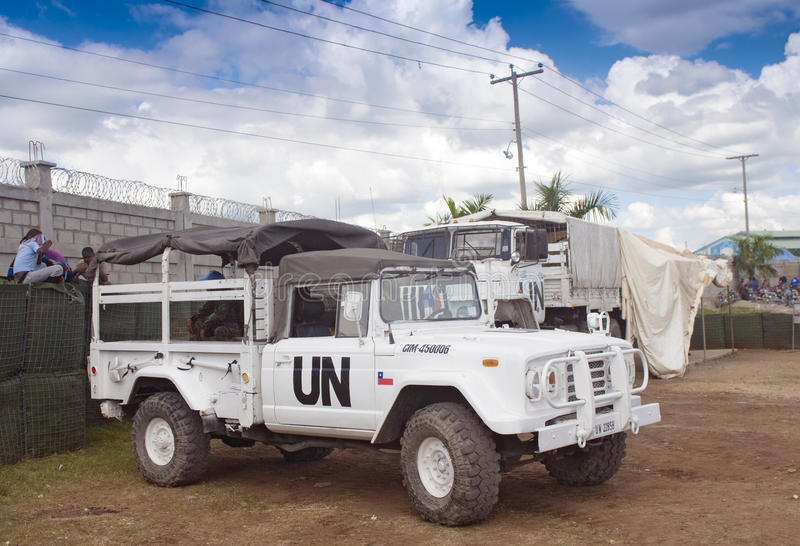 De Vredeskorpsenopdracht van de Verenigde Naties in Haïti stock fotografie