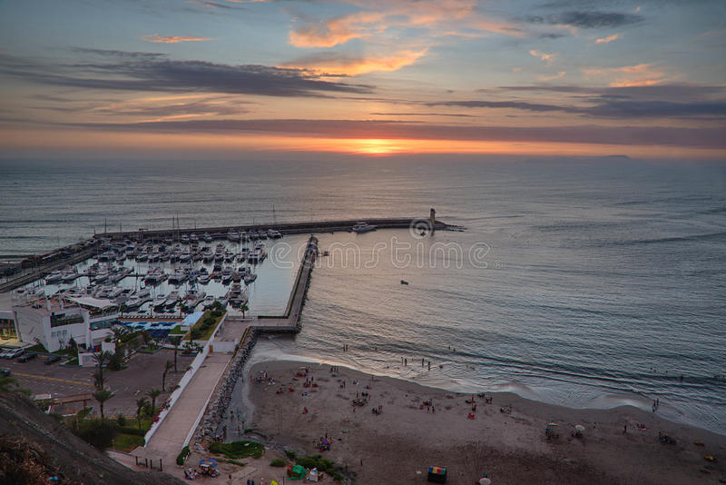 De Vreedzame kust van Miraflores in Lima, Peru stock fotografie