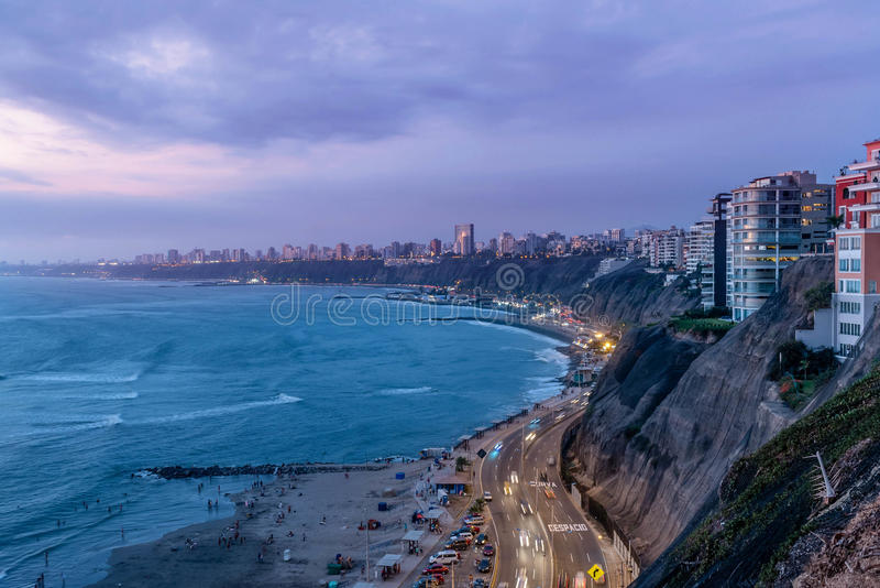 De Vreedzame kust van Miraflores in Lima, Peru royalty-vrije stock foto's