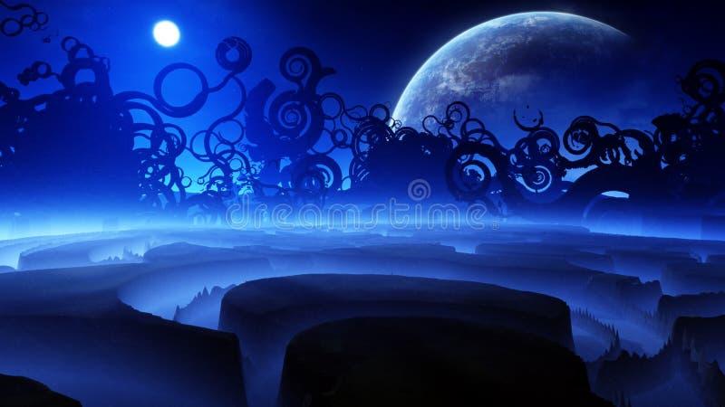 De vreemde Nacht van het Fantasielandschap stock illustratie