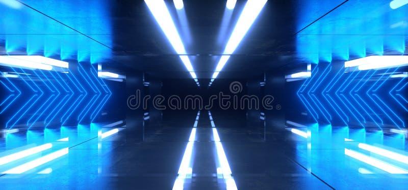 De vreemde de Spiegel Weerspiegelende Pijl Gestalte gegeven Gloeiende Blauwe Purpere Zaal van de Neonlaser Donkere Achtergrond va vector illustratie
