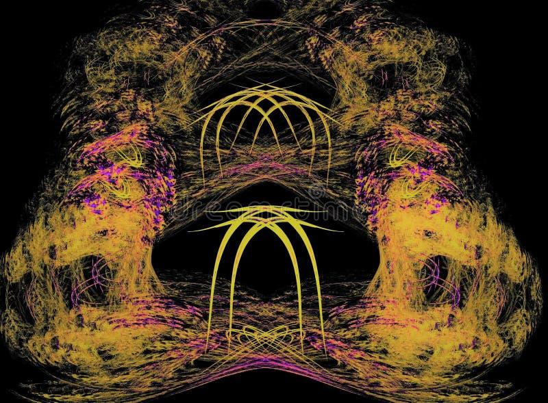 De vreemde tunnel van ` s Mooie abstracte fractal samenstelling op een zwarte achtergrond stock foto's
