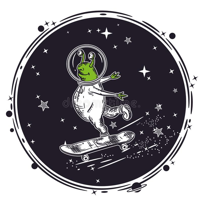 De vreemde vleten op een skateboard Vector illustratie vector illustratie