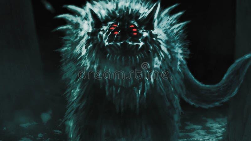 De vreemde wolf komt uit donker bos te voorschijn en opent zijn mond stock foto