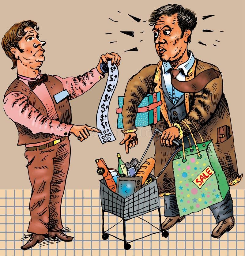 De vreselijke gevolgen van het winkelen (Vector) stock illustratie