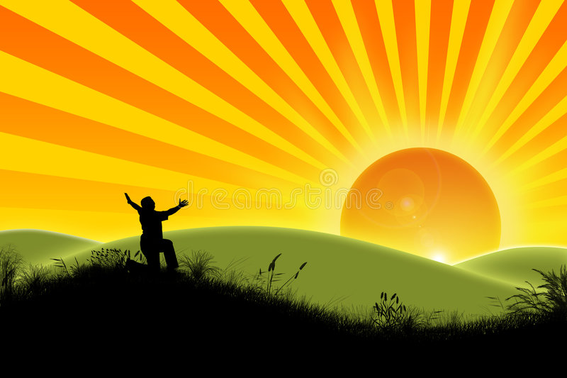 De vreugde van de nieuwe dag. stock illustratie