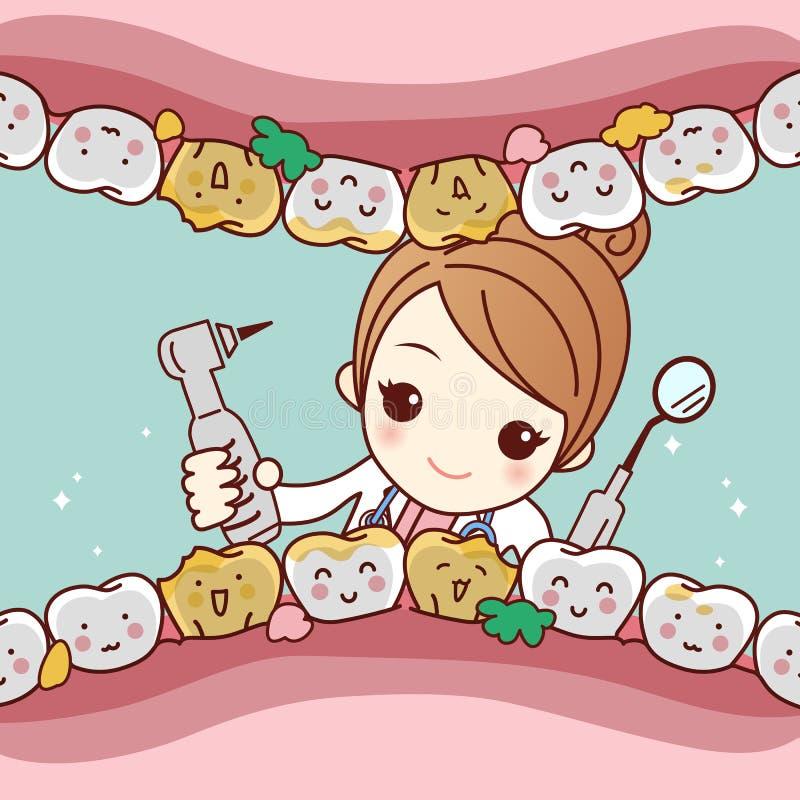 De vriend van de beeldverhaaltand met tandarts royalty-vrije illustratie