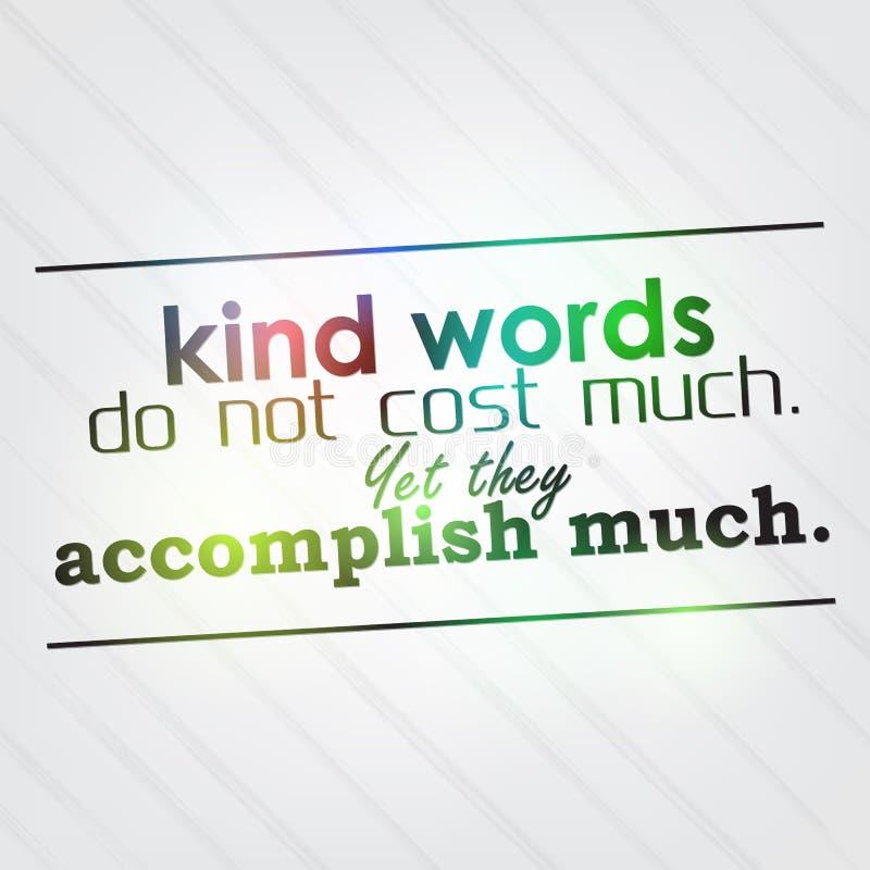 De vriendelijke woorden kosten niet veel vector illustratie