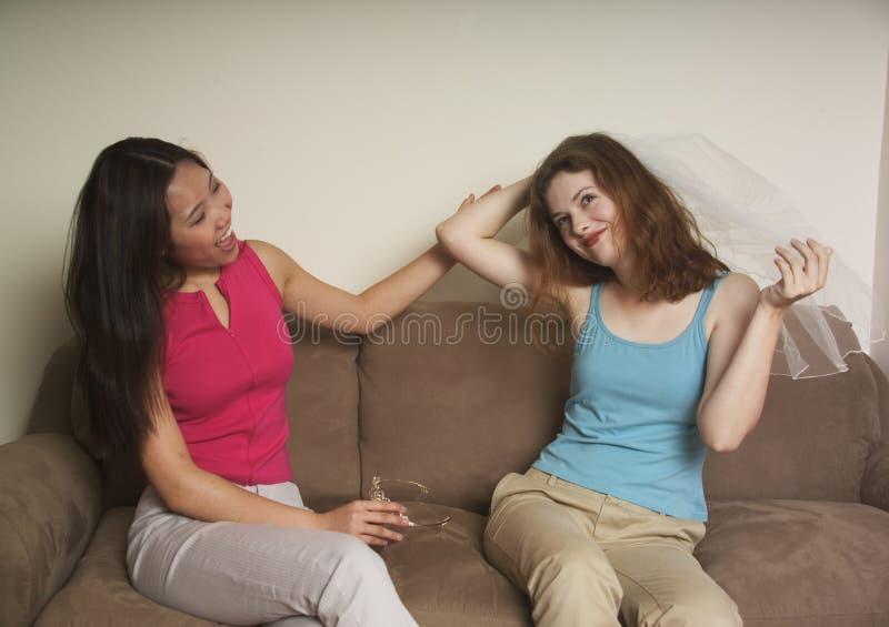 Download De Vrienden Die Van Het Meisje Een Huwelijk Plannen Stock Foto - Afbeelding bestaande uit planning, talking: 283392