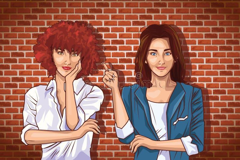 De vrienden die van pop-artvrouwen beeldverhalen glimlachen stock illustratie