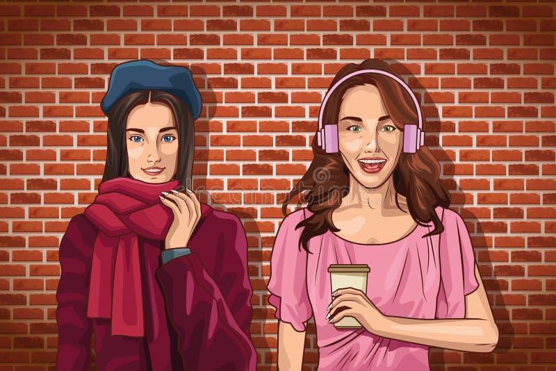 De vrienden die van pop-artvrouwen beeldverhalen glimlachen vector illustratie