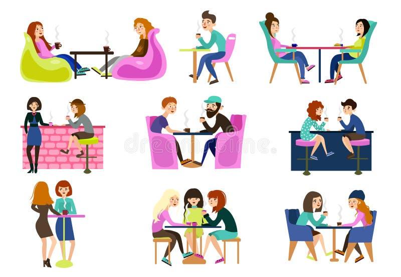 De vrienden in een de zomerkoffie zitten bij lijsten babbelend eten thee en koffie vector illustratie