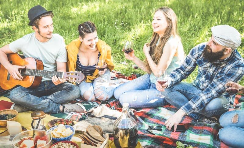 De vrienden groeperen het hebben van pret het openlucht toejuichen bij bbq picknickbarbecue stock foto's