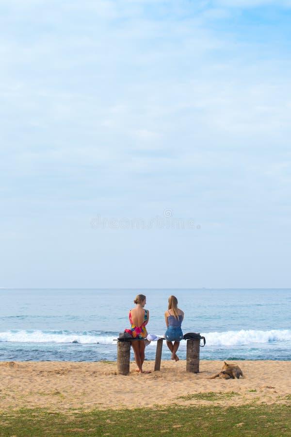 De vrienden rusten dichtbij de oceaan royalty-vrije stock afbeelding