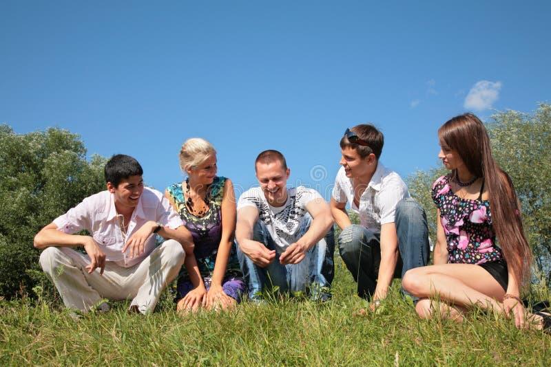 De vrienden van de groep zitten op gras royalty-vrije stock foto