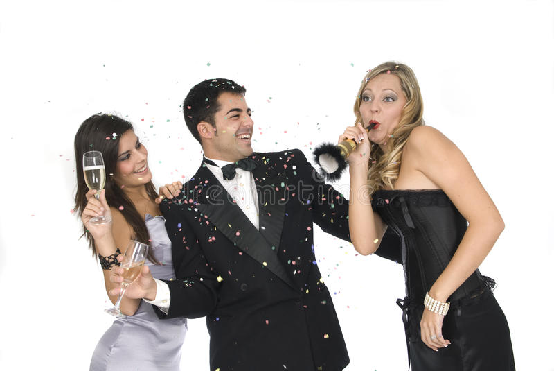 De vrienden van Elegants bij een nieuwe jaarpartij stock foto