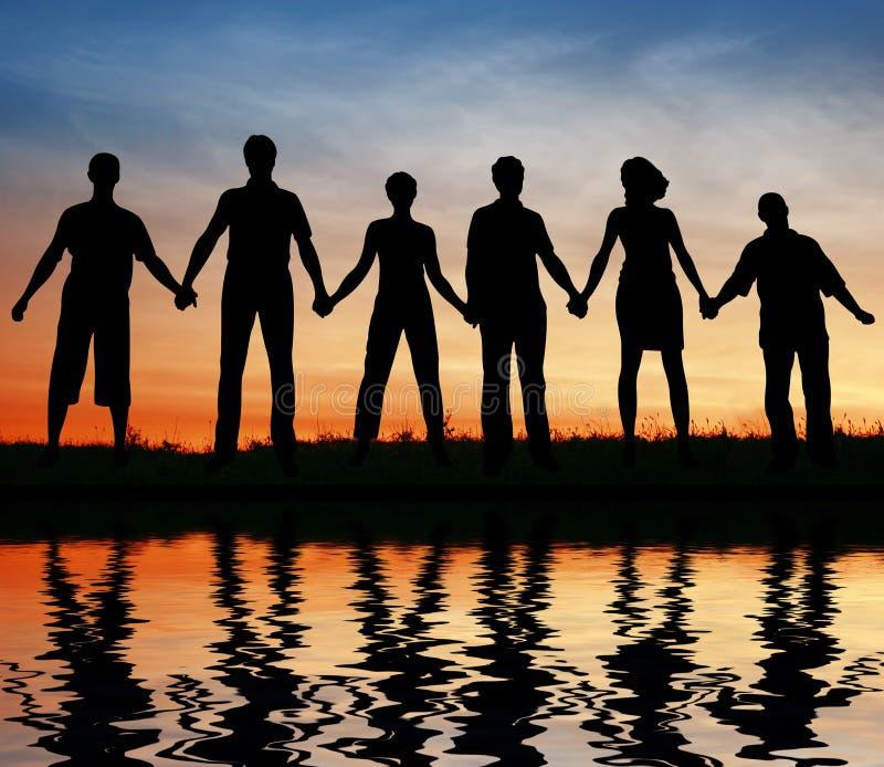 De vrienden van het silhouet stock foto