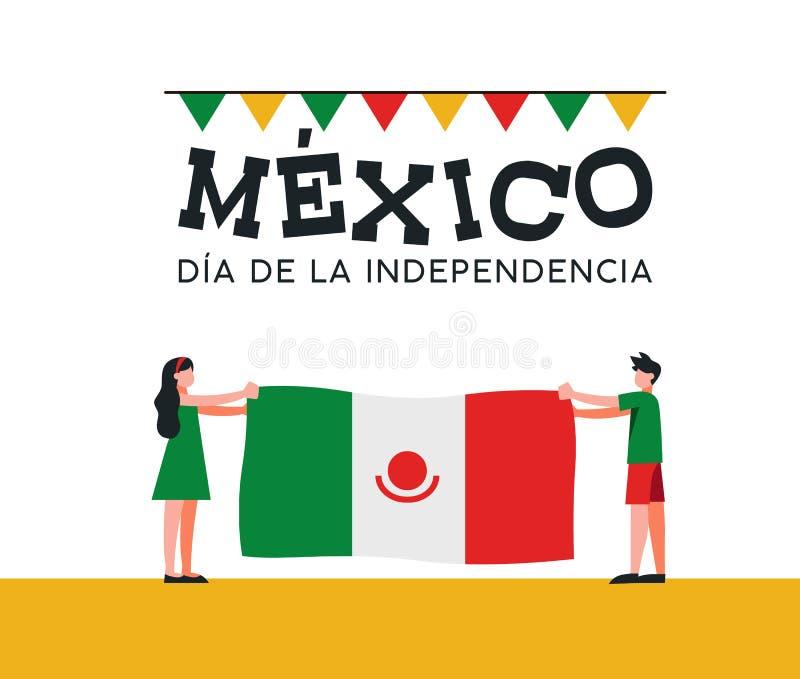 De vrienden van de de Onafhankelijkheidsdag van Mexico met Mexicaanse vlag stock illustratie