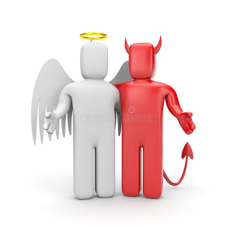 De vriendschap tussen goed en kwaad vector illustratie