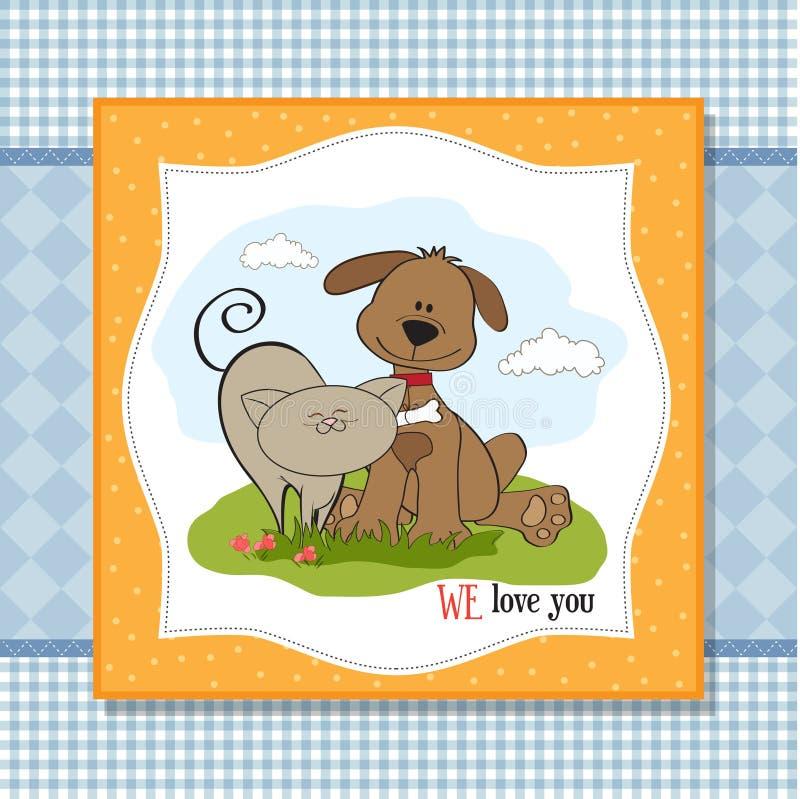 De Vriendschap Van De Hond & Van De Kat Royalty-vrije Stock Foto's