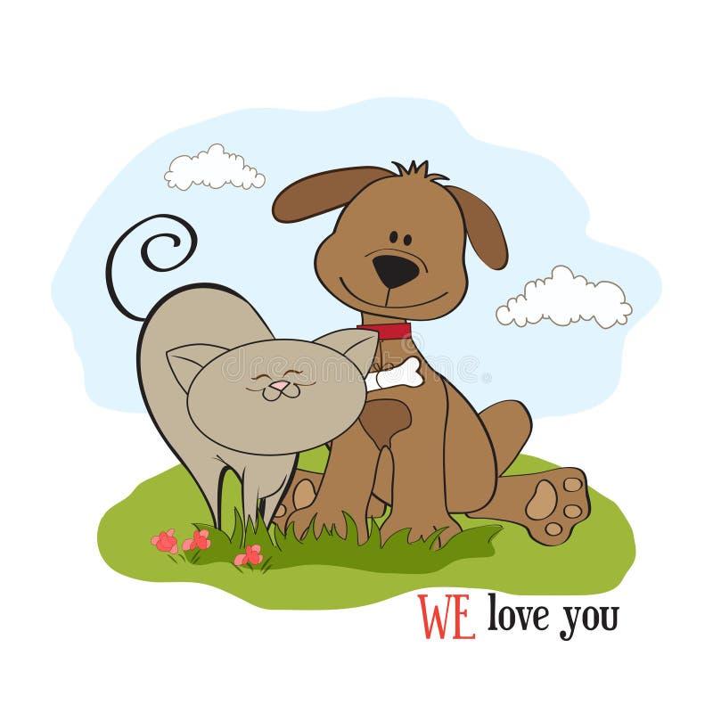 De vriendschap van de hond & van de kat vector illustratie