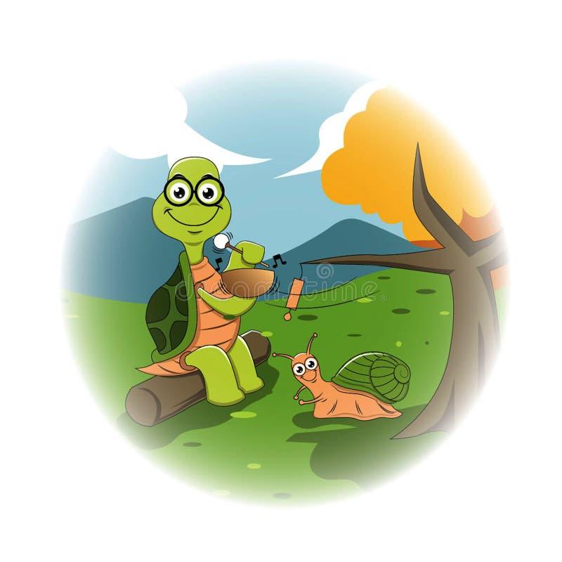 De vriendschappelijke gevoelige schildpad en de slak zijn het luisteren zingende vriendschappelijke kom vector illustratie