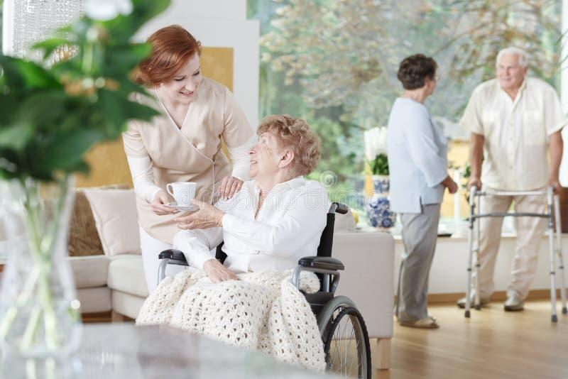 De vriendschappelijke verpleegster geeft een kop thee stock foto