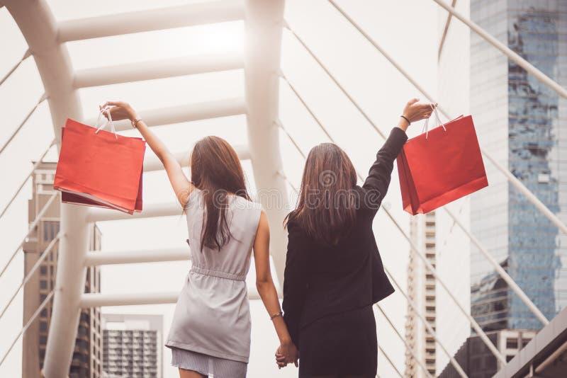 De vriendschapsvrouwen die van de Shopaholiclevensstijl het winkelen zak in sh houden royalty-vrije stock afbeelding