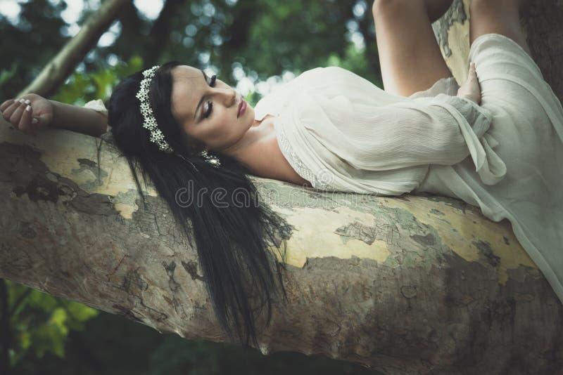 De vrij jonge vrouw in romantische kleding ligt op boom in park stock afbeeldingen