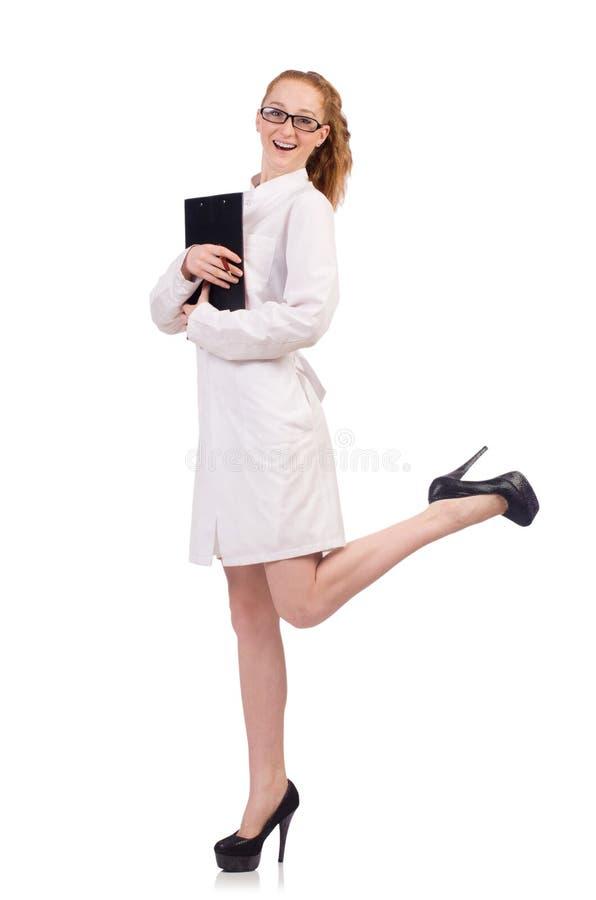 De vrij vrouwelijke geïsoleerde agenda van de artsenholding stock fotografie
