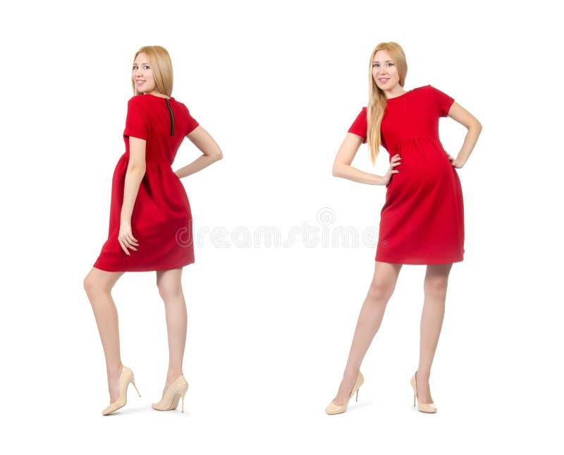 De vrij zwangere vrouw in rode die kleding op wit wordt geïsoleerd royalty-vrije stock afbeeldingen