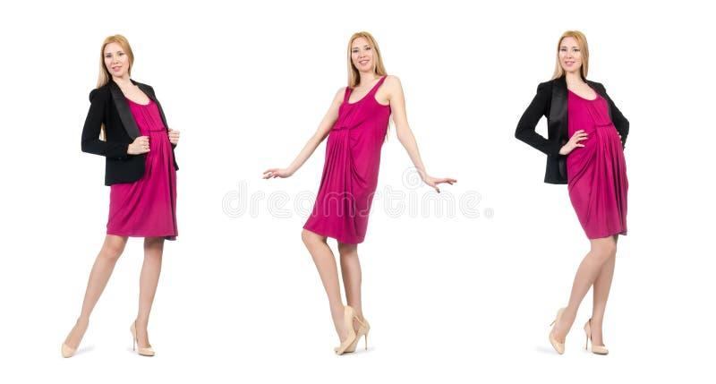 De vrij zwangere vrouw in roze die kleding op wit wordt geïsoleerd royalty-vrije stock afbeeldingen
