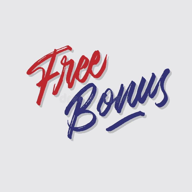 De vrije bonus ruwt hand het van letters voorzien typografie verkoop en marketing signage van de winkelopslag affiche stock illustratie