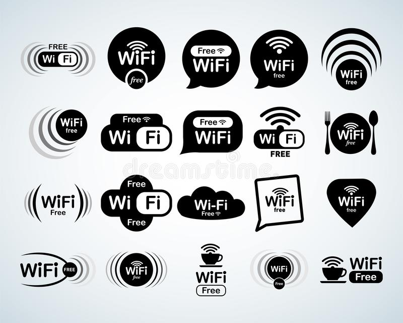 De vrije reeks van het wifiembleem Vrije geplaatste wifitekens WiFi-Symbolen Draadloze netwerkpictogrammen De streek van WiFi Mod royalty-vrije illustratie