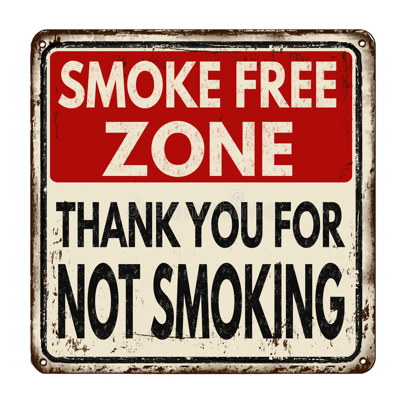De vrije streek van de rook Dank u voor rokend niet uitstekend metaalteken vector illustratie