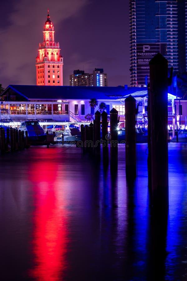 De vrijheidstoren van Miami bij nacht stock foto