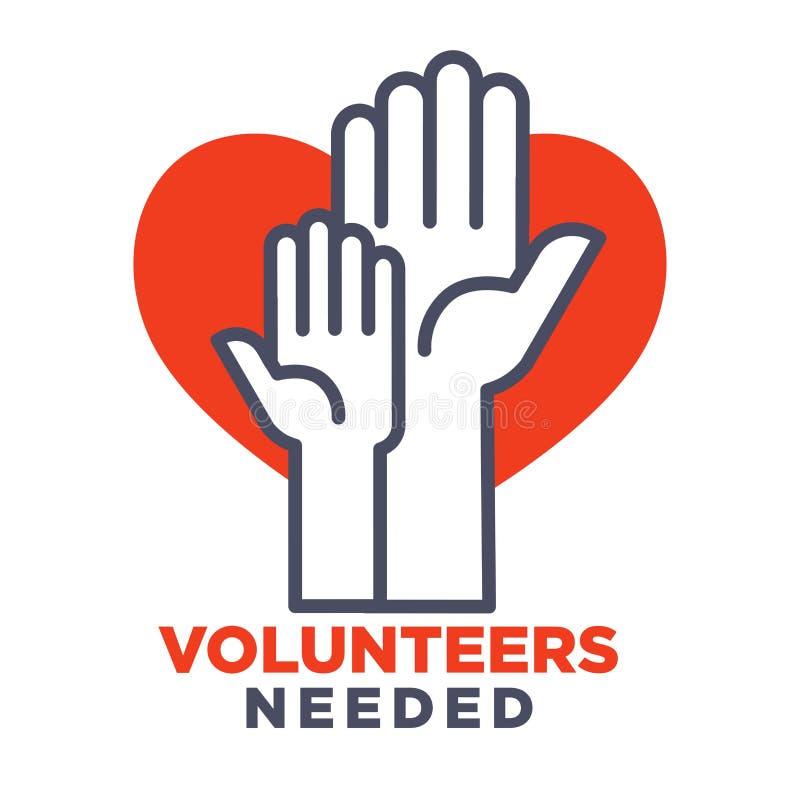 De vrijwilligers hadden agittive affiche nodig om voor liefdadigheid toe te treden royalty-vrije illustratie