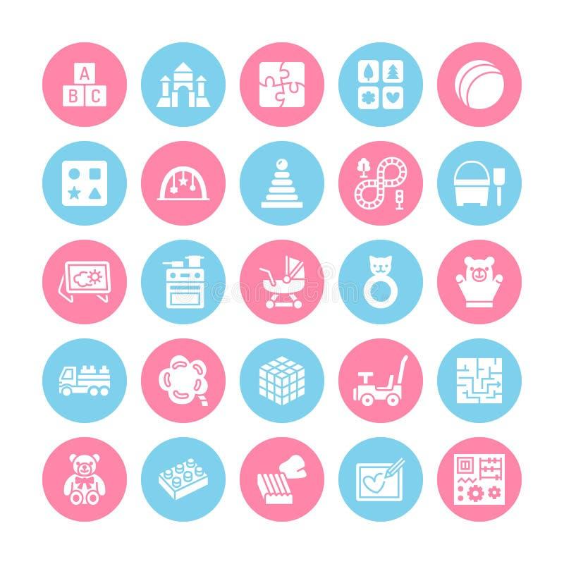 De vroege pictogrammen van de het speelgoed vlakke lijn van de ontwikkelingsbaby Spelmat, sorterend blok, bezige raad, stuk speel stock illustratie