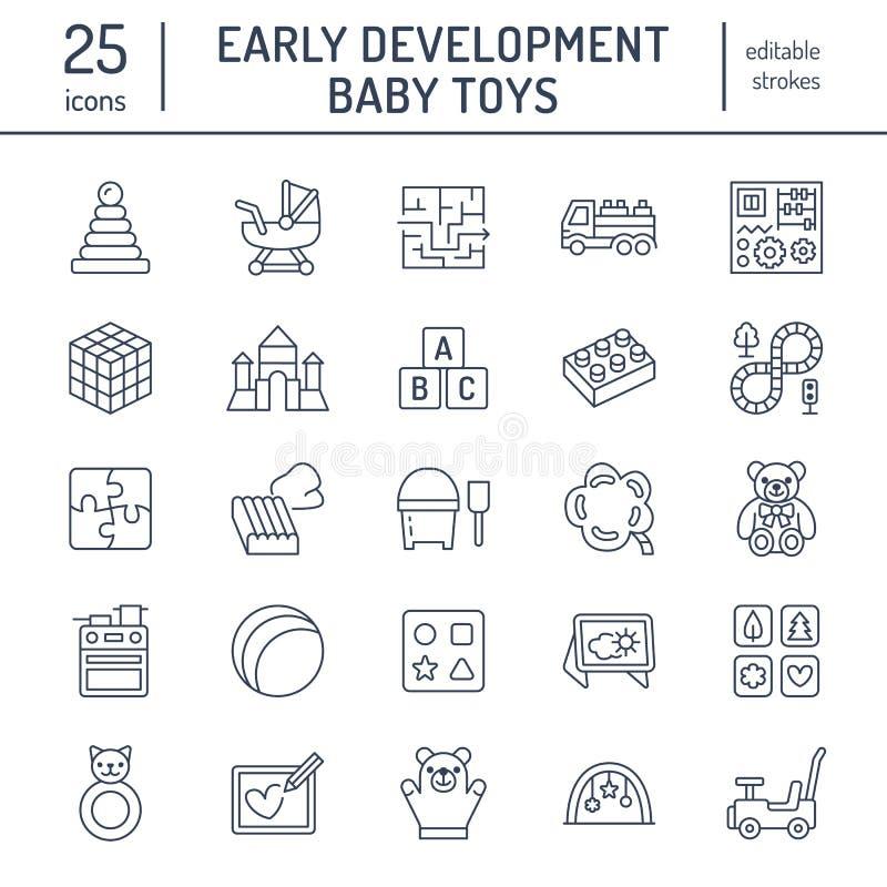 De vroege pictogrammen van de het speelgoed vlakke lijn van de ontwikkelingsbaby Spelmat, sorterend blok, bezige raad, vervoer, s vector illustratie