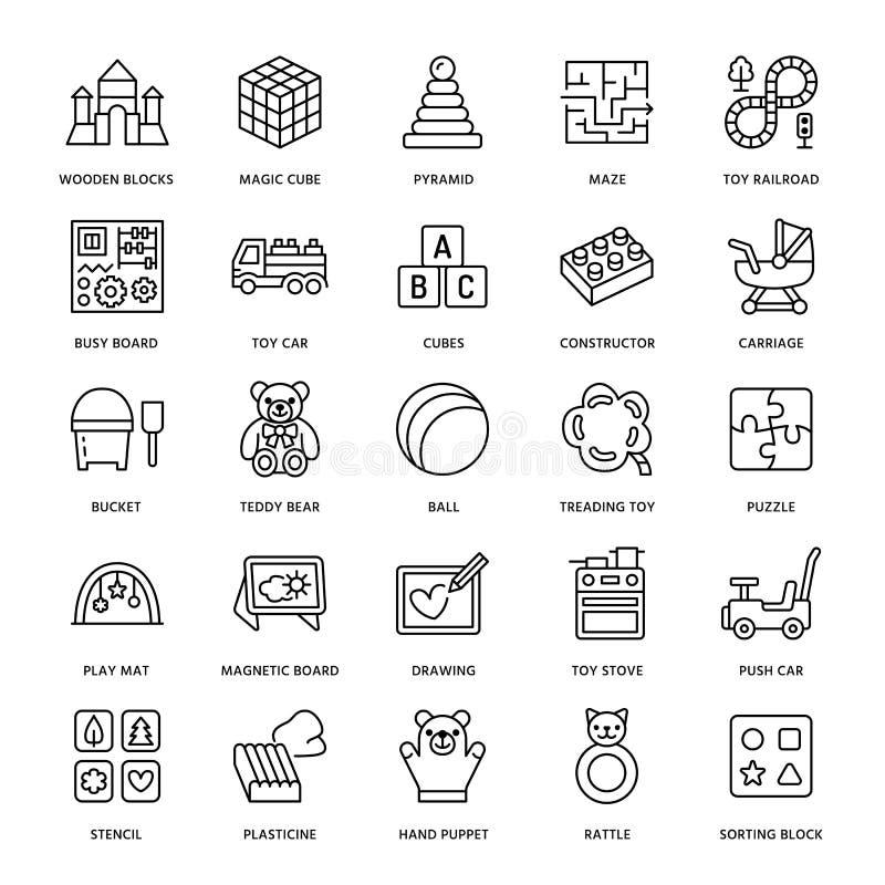 De vroege pictogrammen van de het speelgoed vlakke lijn van de ontwikkelingsbaby Spelmat, sorterend blok, bezige raad, vervoer, s royalty-vrije illustratie