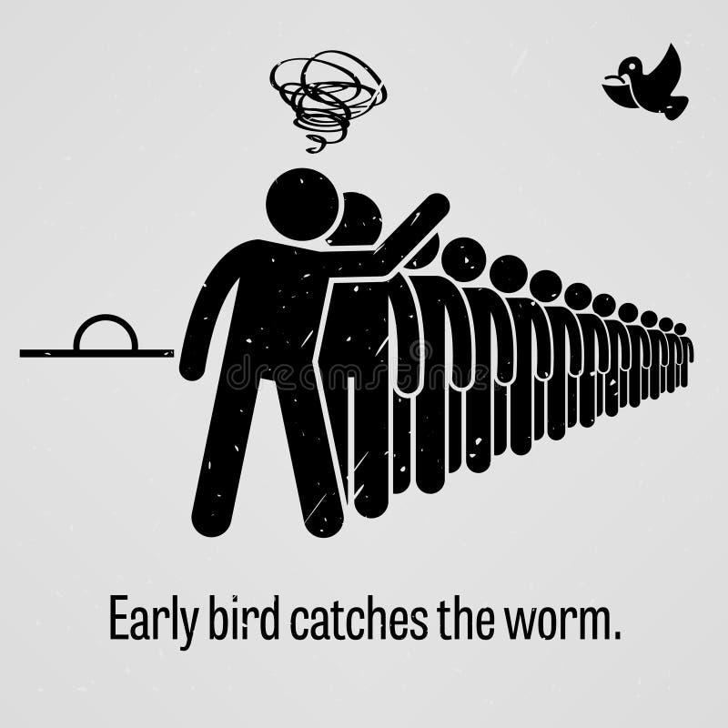 De vroege vogel vangt het Wormgezegde stock illustratie