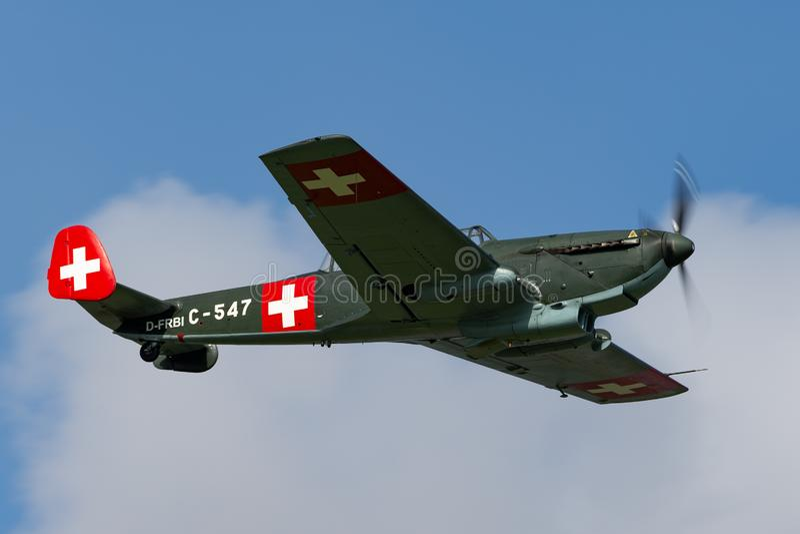 De vroegere Swiss Air-Kracht EKW c-36 multifunctionele vliegtuigen bouwde 1930's en 1940's in royalty-vrije stock foto