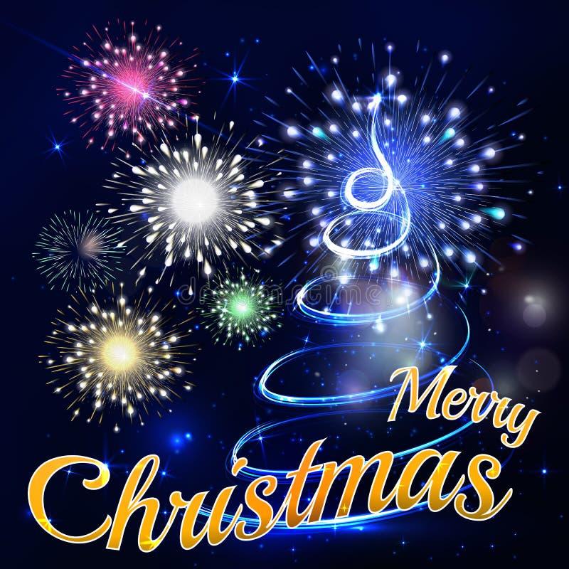 De vrolijke achtergrond van de Kerstnachtvakantie in blauwe schaduwen met begroeting vector illustratie