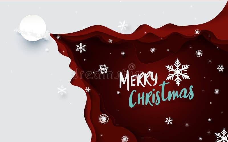 De vrolijke achtergrond van de Kerstmisillustratie Santa Claus Driving in een Slee en sneeuwvlok met rode golvendocument besnoeii royalty-vrije illustratie