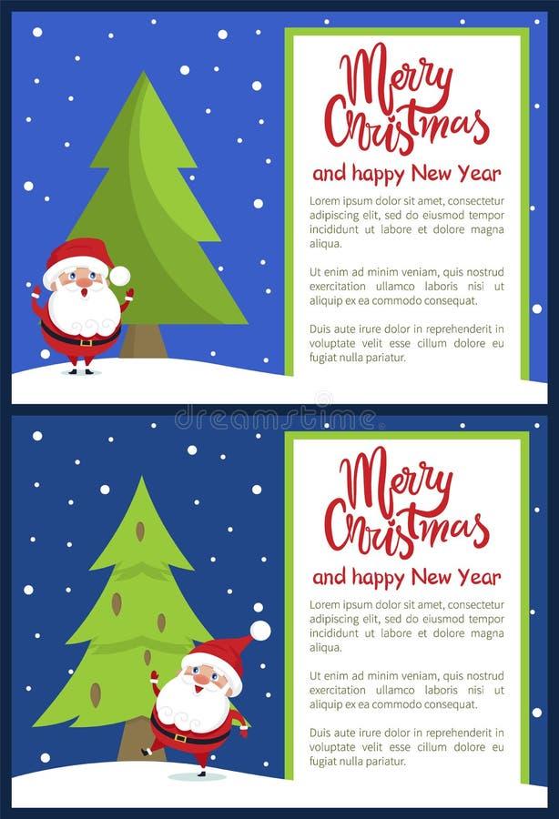 De vrolijke Affiche Santa Tree van het Kerstmis Gelukkige Nieuwjaar royalty-vrije illustratie